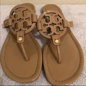 Tory Burch Miller Sandals Patent Leather Tan